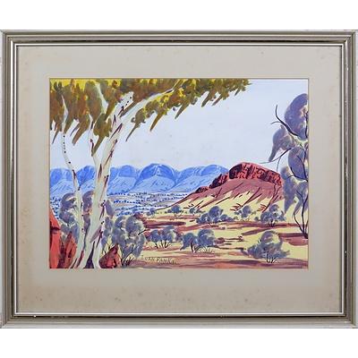 Ivan Pannka (1943-1999), Central Australian Landscape, Watercolour, 26 x 36 cm