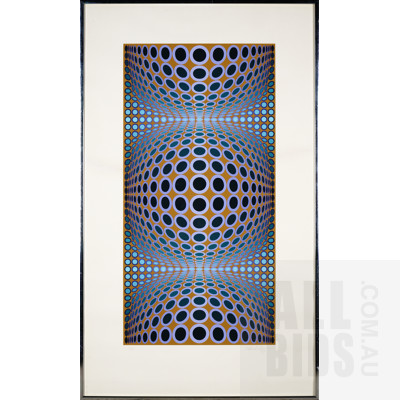 Victor Vasarely (1906-1997, French), Blue Composition, Lithograph, 82 x 41 cm (image size)