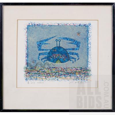 Masao Oba (1928-2008, Japanese), Blue Crab, Screenprint, 17 x 14.5 cm (image size)