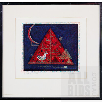 Masao Oba (1928-2008, Japanese), Night II, Screenprint, 17 x 14.5 cm (image size)