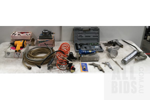 Assorted Lot Of Pneumatic Tools, Including Impact Wrenches, Multi-Tool, Sander, Grease Gun And Chisel