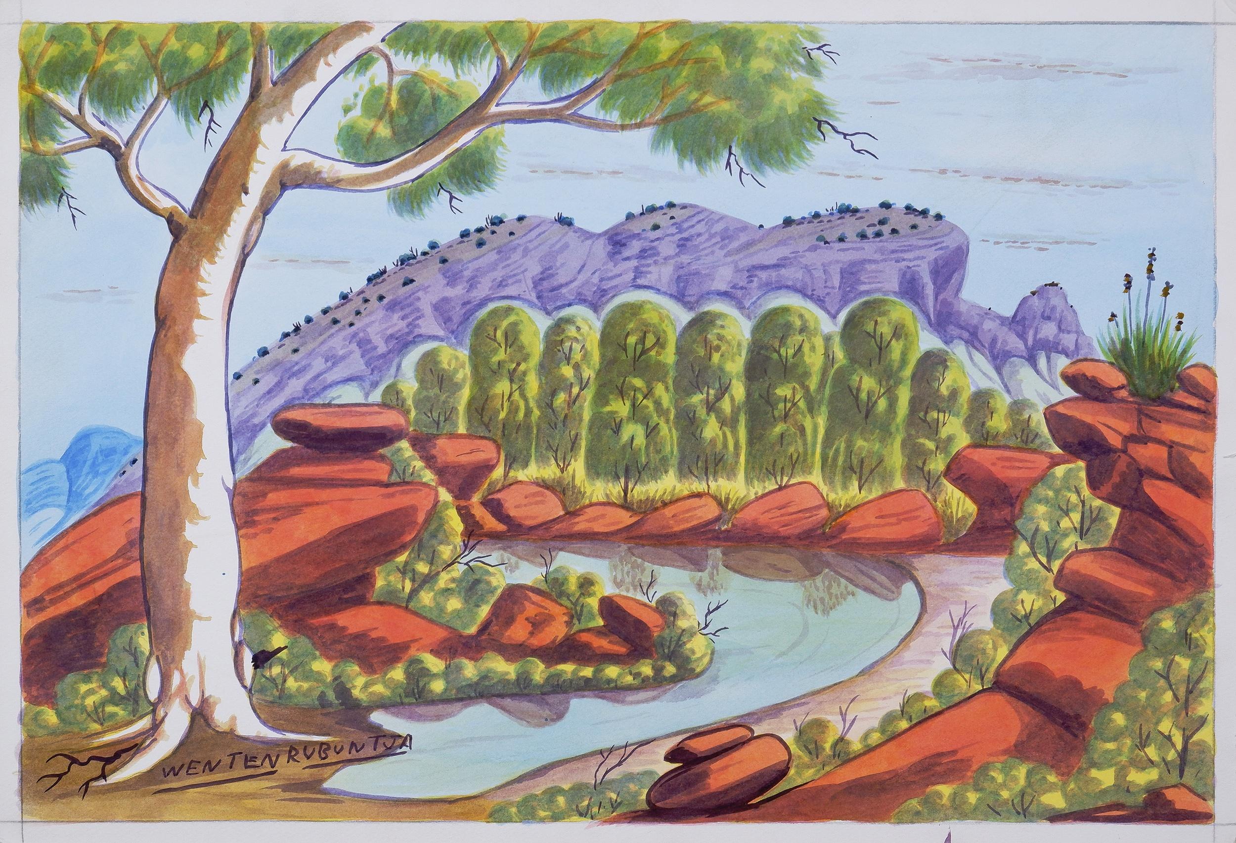 'Wenten Rubuntja (1926-2005), Mount Sonder, Pareroultja Country, Watercolour, 32.5 x 48.5 cm'