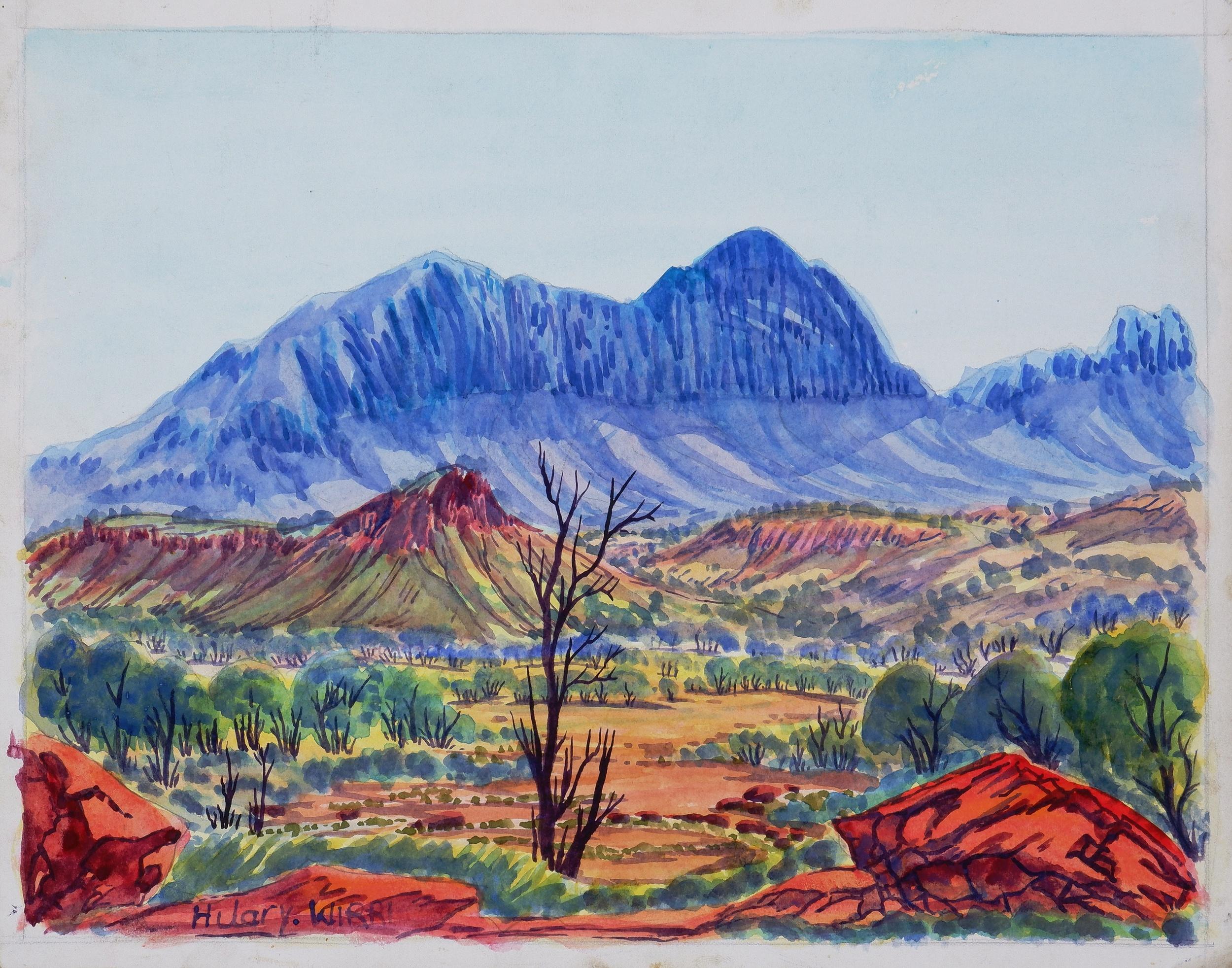'Hilary Wirri (born 1959), Central Australian Landscape, Watercolour, 24.5 x 31.5cm'