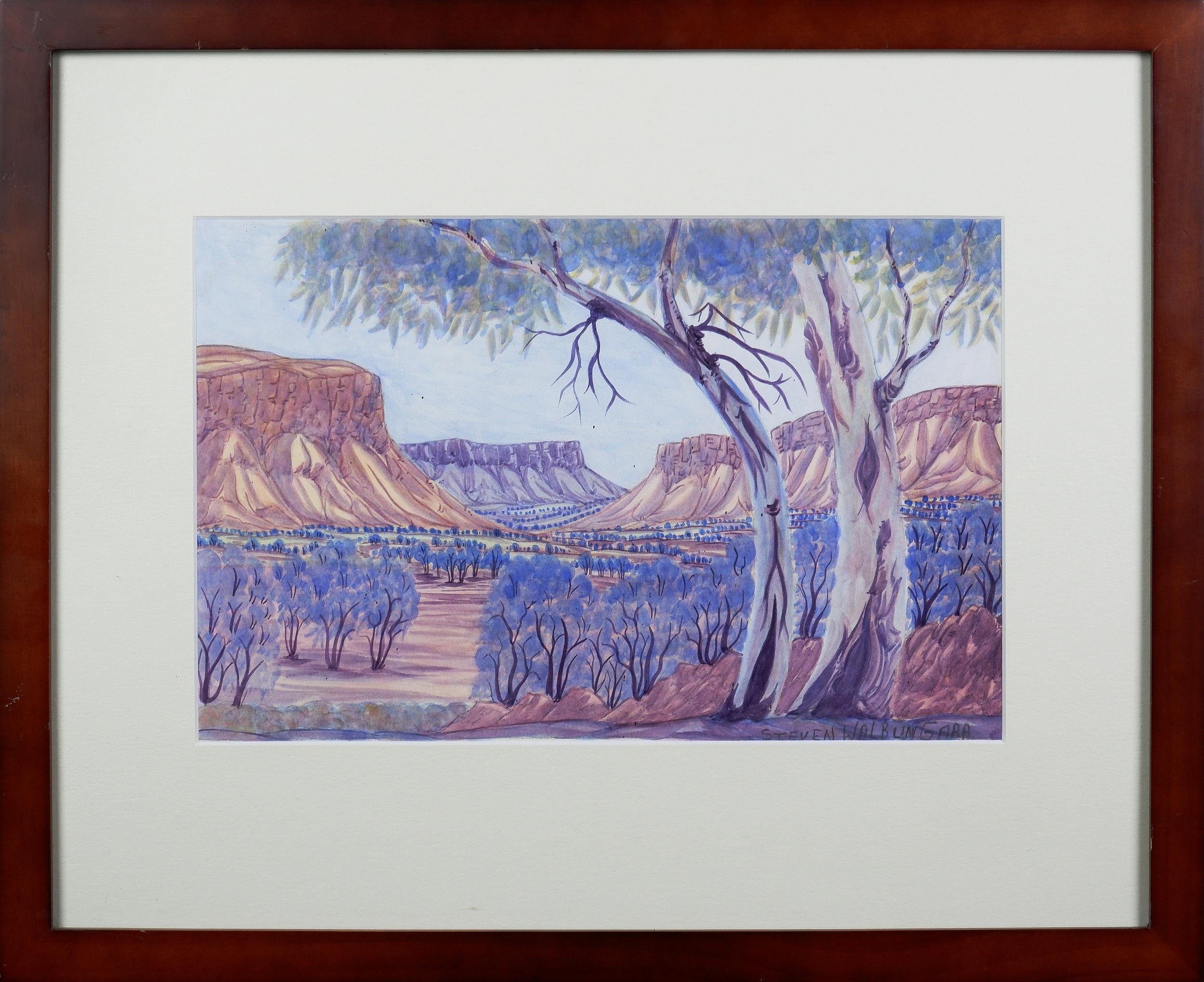 'Steven Walbungara (born 1959), Ormiston Gorge, Watercolour, 24 x 36 cm'