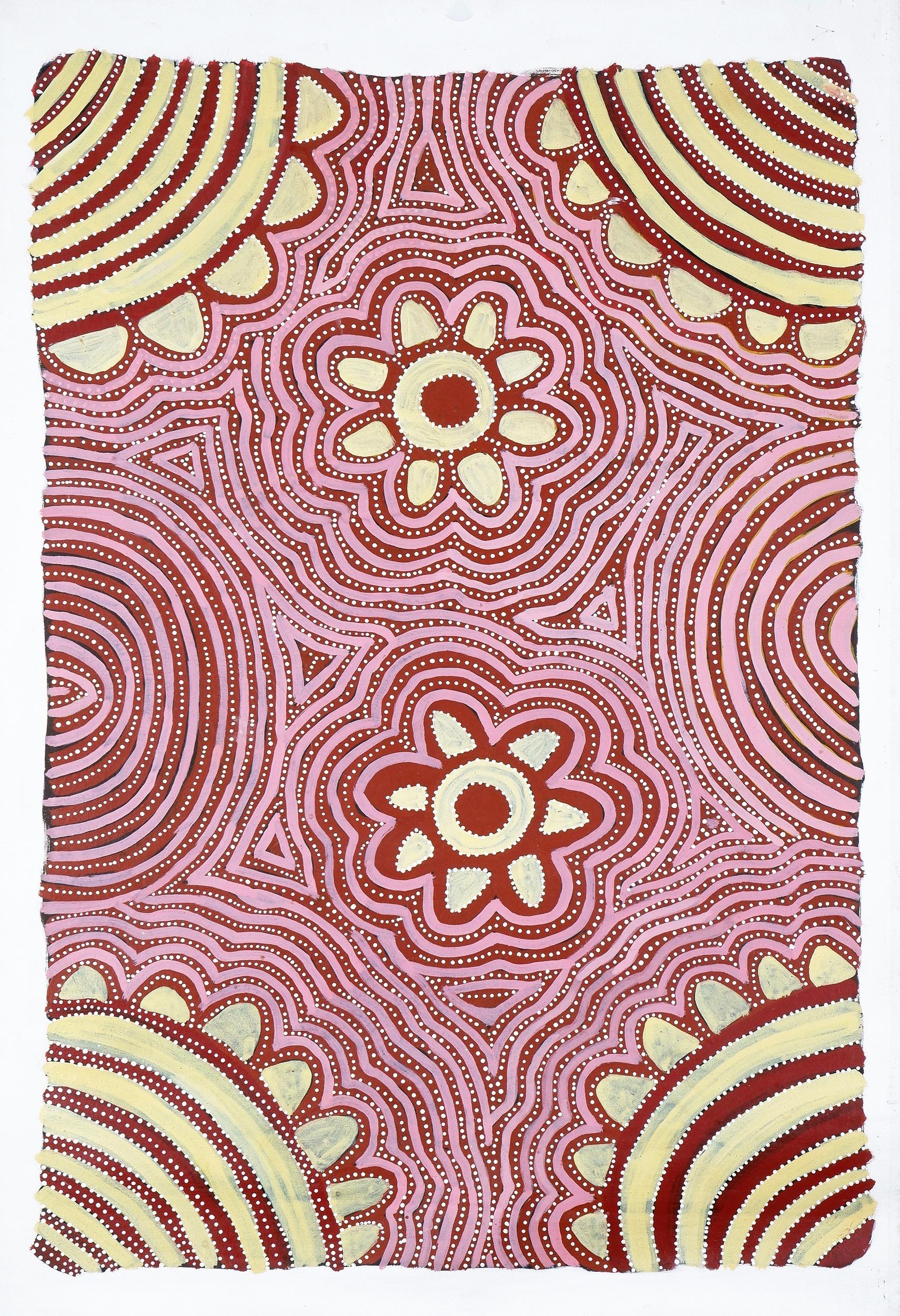 'Audrey Kngwarreye (born c1945, Alyawarre language group), Awelye 1996, Synthetic Polymer Paint on Canvas, 57 x 85 cm'