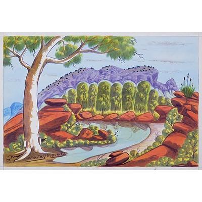 Wenten Rubuntja (1926-2005), Mount Sonder, Pareroultja Country, Watercolour, 32.5 x 48.5 cm