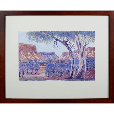 Steven Walbungara (born 1959), Ormiston Gorge, Watercolour, 24 x 36 cm