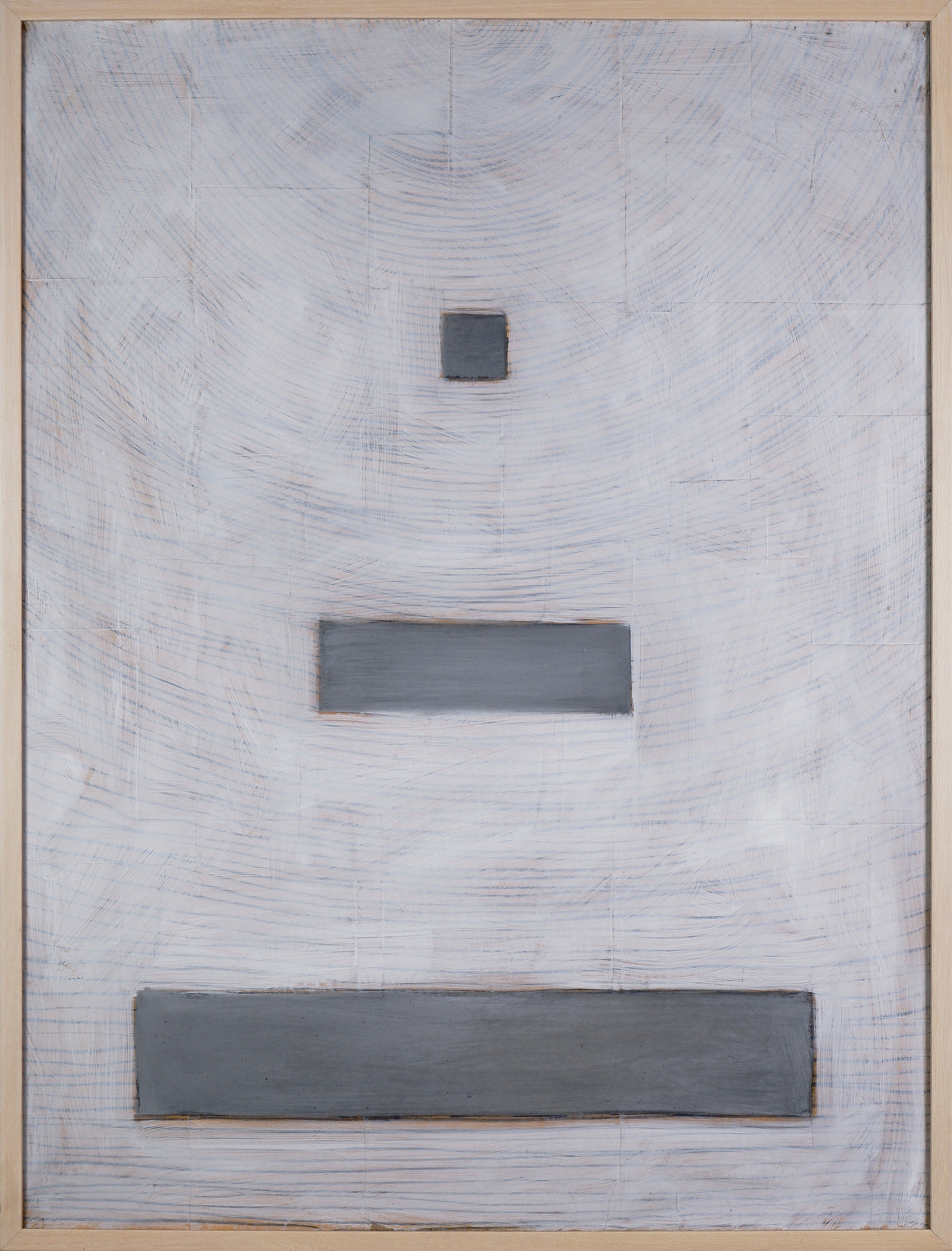 'Christopher Snee (born 1957), Untitled (White Background 1990, Oil, Graphite and Paper on Canvas, 100 x 75 cm'