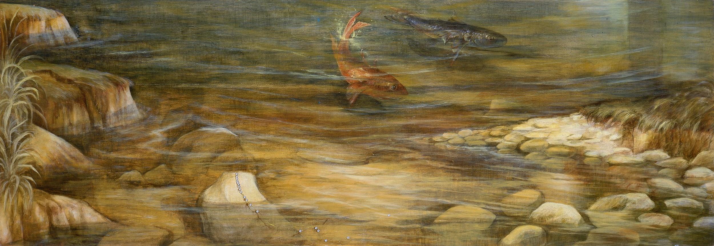 'Elisabeth Kruger (born 1955), Poisson le Mien 1990, Gouache and Acrylic on Wood, 52 x 150 cm'