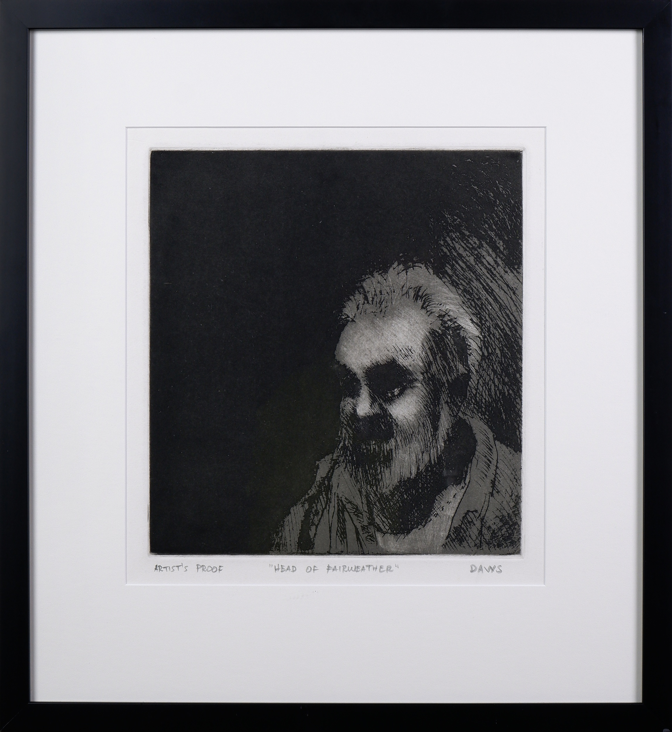 'Lawrence Daws (born 1927), Head of Fairweather 1977/78, Etching A/P, 27.5 x 25 cm (image size)'