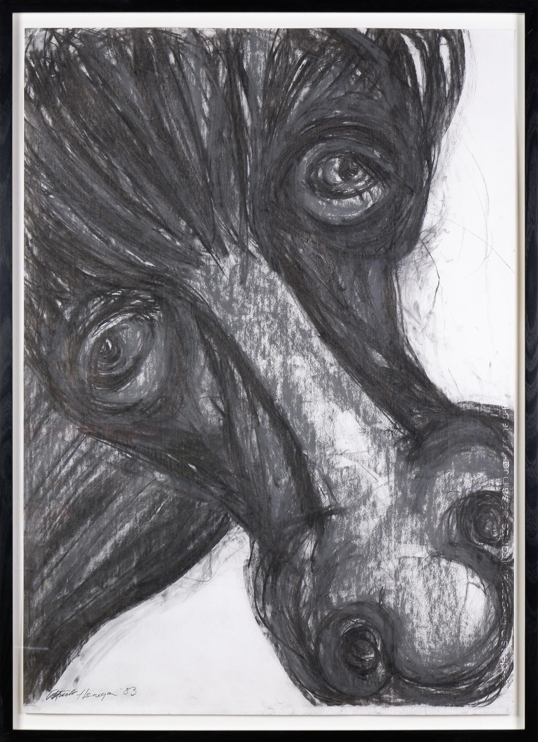 'Patrick Henigan (1925-2018), Horse 1983, Charcoal on Paper, 98 x 70 cm'