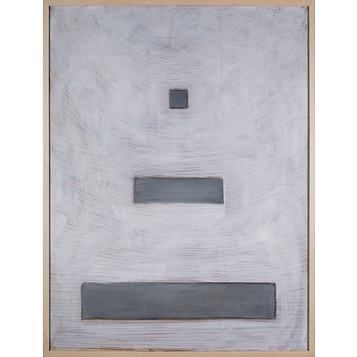 Christopher Snee (born 1957), Untitled (White Background 1990, Oil, Graphite and Paper on Canvas, 100 x 75 cm