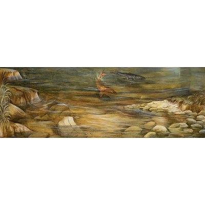 Elisabeth Kruger (born 1955), Poisson le Mien 1990, Gouache and Acrylic on Wood, 52 x 150 cm