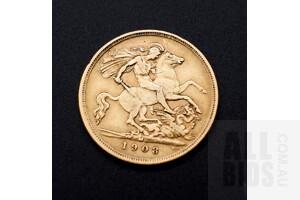 1908 Edward VII 22ct Gold Half Sovereign, Melbourne Mint Mark