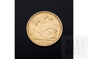 1899 Victoria 22ct Gold Half Sovereign, Melbourne Mint Mark