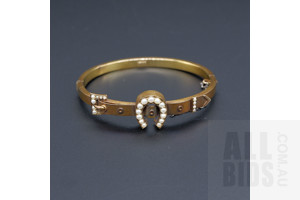 15ct Yellow Gold Hollow Hinge Bangle with Horse Shoe and Belt Buckle Set with Half Seed Pearls, 9.8g