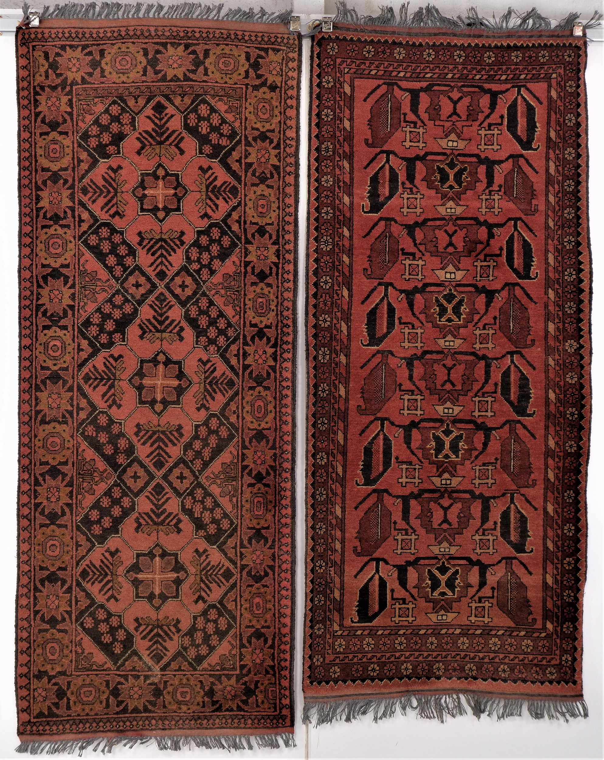 'Two Afghan Hand Knotted Wool Rugs with Khal Mohammadi Design '