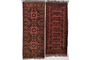 Two Afghan Hand Knotted Wool Rugs with Khal Mohammadi Design