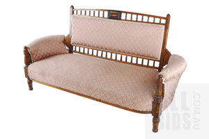 Edwardian Two Seat Settee with Classical Style Upholstery Circa 1910
