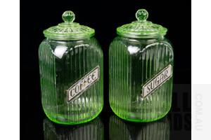 Two Vintage Large Uranium Glass Sugar and Coffee Jars