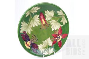 Vintage Moorecroft 'Columbine' Plate, Circa 1950-1986
