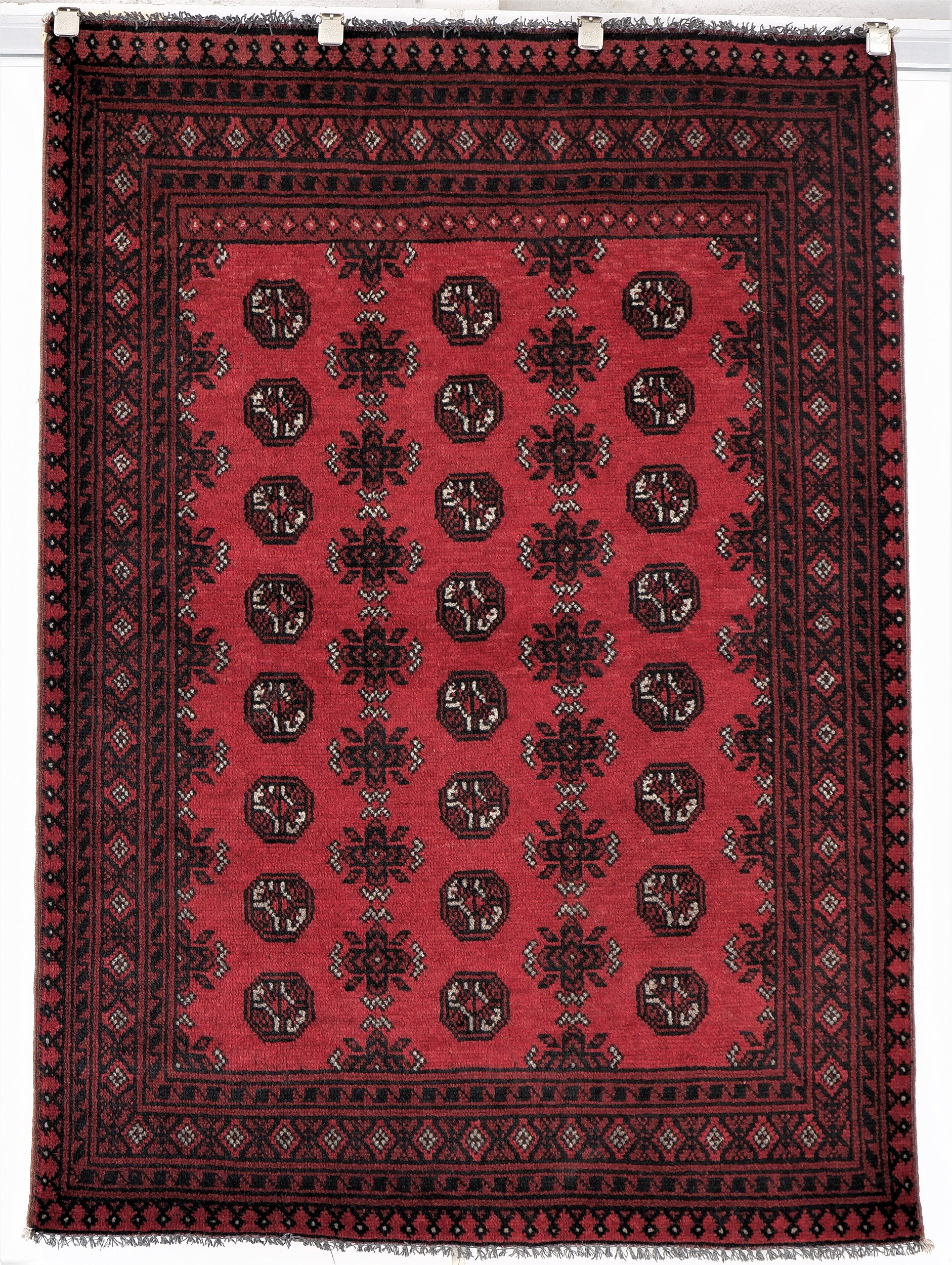 'Afghan Bokhara Hand Knotted Pure Wool Rug '
