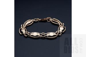 9ct Rose Gold Bracelet with Shield Links, 20g