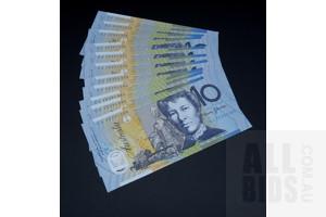 11 X Consecutive $10 2012 Stevens Parkinson Australian Ten Dollar Polymer Banknotes R322A CJ12521273-85