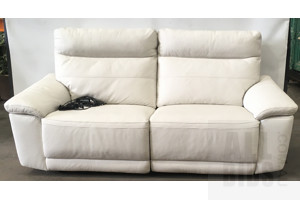 2 Piece White Leather Electric Reclining Lounge