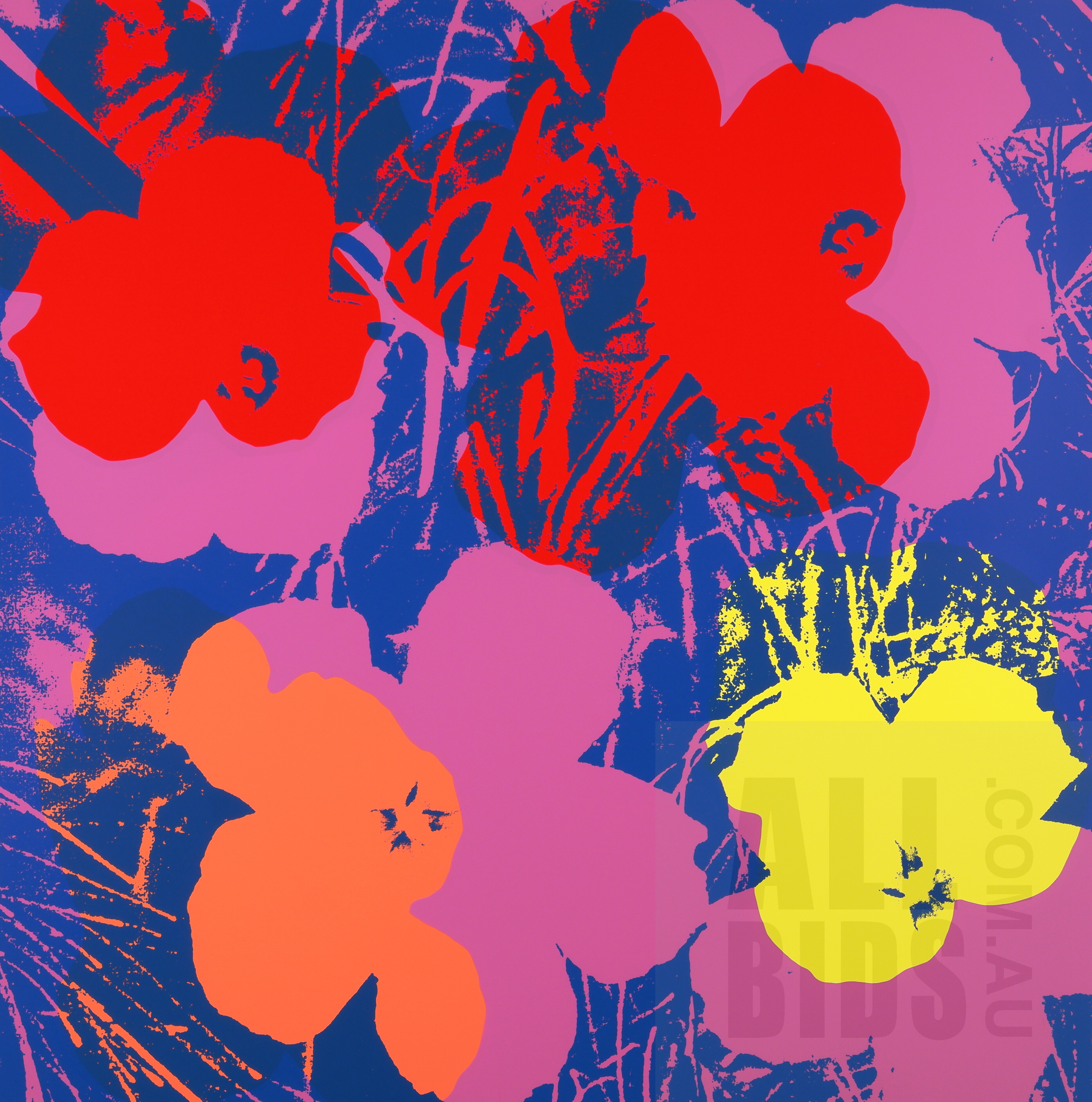 'After Andy Warhol, Flowers 11.66 (2018), Screenprint on Museum Board, Published by Sunday B. Morning, 90 x 90 cm'