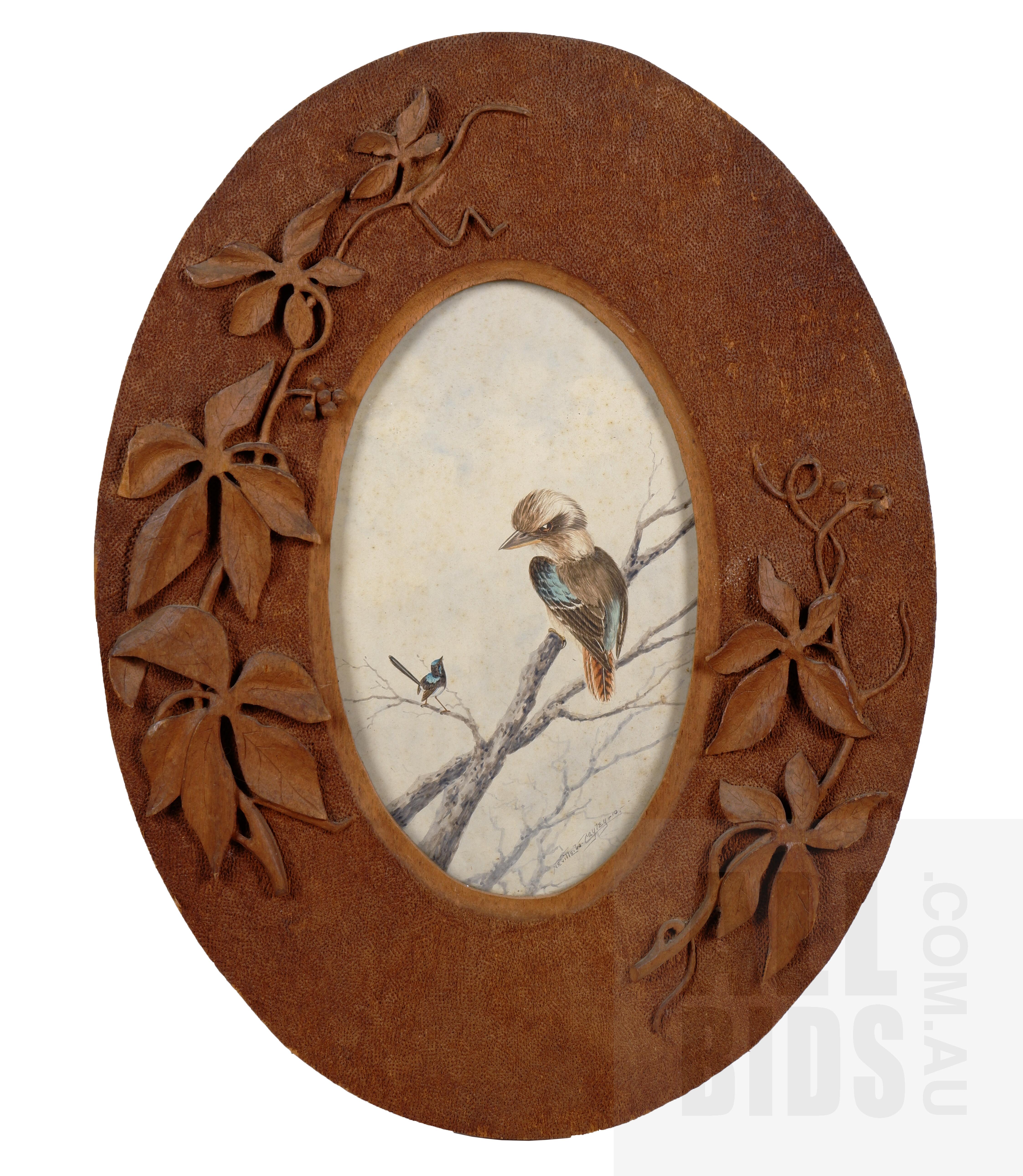 'Neville Cayley (1886-1950), Kookaburra & Wren 1910, Watercolour, 26 x 15 cm (rondo)'
