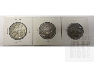 Three Australian Florins, Including 1927 Parliament House and 1951 Jubilee Florin