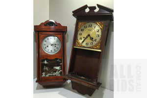 Antique Style Short Clock For Parts Or Restoration Only - Lot Of Two