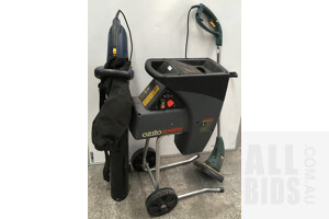 Electric Garden Maintenance Kit Including Line Trimmer, Shredder And Blower Vac - Lot Of Three