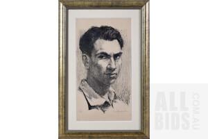Clem Millward (born 1929), Untitled (Portrait of a Young Man), Lithograph, 33 x 17 cm