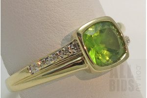 9ct Gold Peridot & Diamond Ring