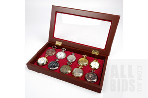 Ten Antique Style Fob Watches in Perspex Topped Display Case