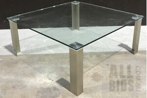 Pier Glass and Stainless Steel Coffee Table - ORP $680