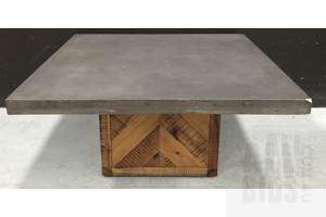 Parquet Concrete/Oak Coffee Table - $899