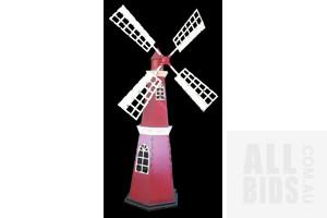 Very Large Nine Foot Rustic Metal Ornamental Windmill