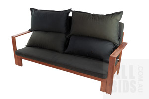Pair of Stained Pine Outdoor Lounges with Black Fabric Upholstered Cushions