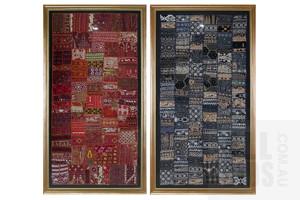 A Pair of Large Mumbai Silk Sari Textiles, Each 128 x 67 cm