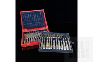 Antiques 24 Piece Boxed British Sterling Silver Fruit Set with Kings Pattern Circa 1880-90s