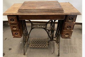 Vintage Singer Sewing Machine Table with Singer Sewing Machine