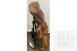Vintage Brown Leather & Fabric Golf Bag with Golf Buggy & Clubs