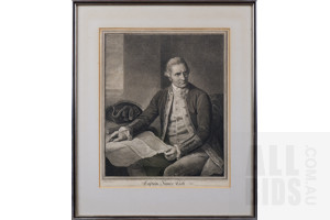 Antiquarian Engraving of Captain James Cook, Published by John Keyse Sherwin, Circa Late 18th Century