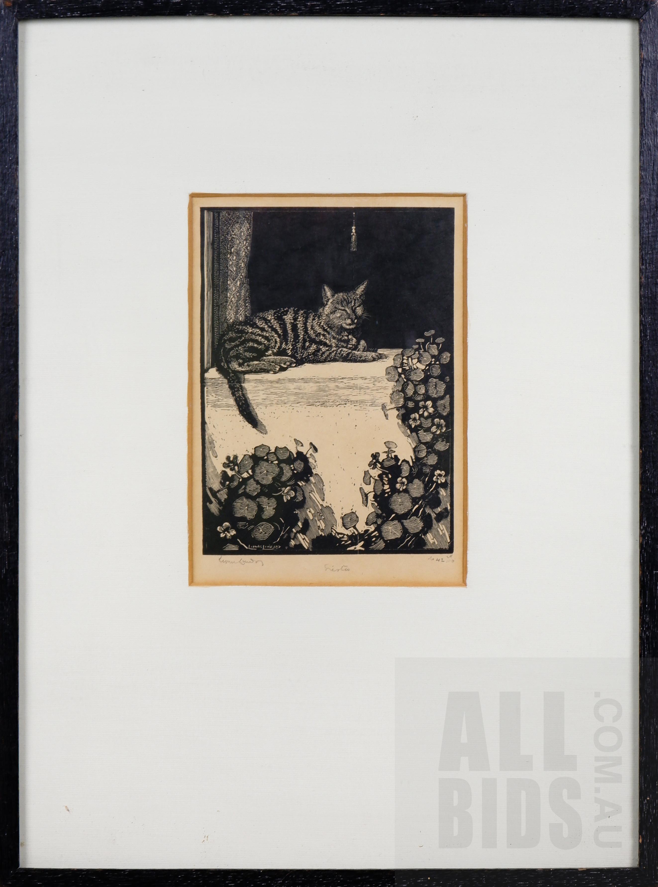 'Lionel Lindsay (1874-1961), Siesta, Woodcut, 14 x 10 cm (image size)'