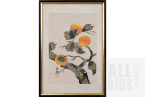 Framed Chinese Ink on Silk Painting, Persimmons, 30 x 20 cm