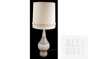 Large Retro Table Lamp with Mosaic Motif with Original Shade