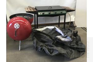 Genuine Weber Kettle and 4 Burner Gas Barbeque - Lot Of Two